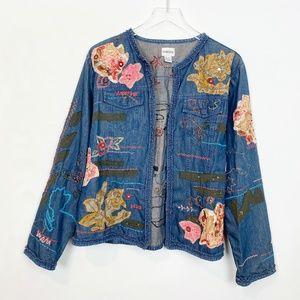 Embellished Patchwork Denim Open Front Jacket 2